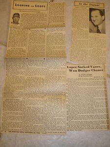 Lot of 3 Original Vintage News Clippings - Al Lopez HOF Catcher Manager Indians