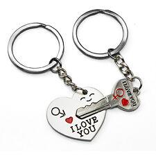 "Arrow & ""I Love You"" Heart & Key Couple Key Chain Ring Keyring Keyfob Lover Gift"