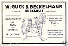 Artikel für Sattler Reklame von 1923 Breslau Guck & Beckelmann Pferdegeschirr ad