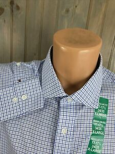 Tommy Hilfiger Mens Regular Fit Stretch Dress Shirt 17 1/2 x 34/35 NWT CHECK
