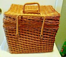 Beautiful Vintage Woven Large PICNIC BASKET With Latch