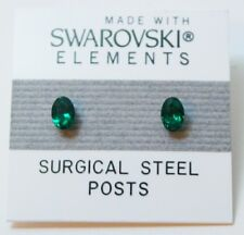 Green Oval Stud Earrings 6mm Small Crystal Circle Made with Swarovski Elements