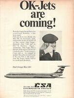 1970 Original Advertising' Vintage Csa Czech Czchoslovak Airlines Ok Jet