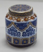 Ornate Porcelain Chinese or Japanese Jar With Lid - Blue Gold & Red against W...