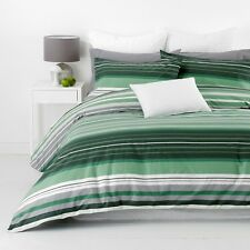 New In 2 Linen Alex Green Super King Size Quilt / Doona Cover Set Cotton Striped