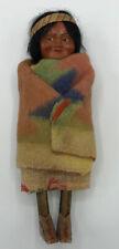 "Vintage Skookum Indian Doll Original Bully Good Sticker 10"" USA Wood Celluloid"