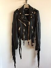 BURBERRY PRORSUM WOMENS AW15 LEATHER BIKER JACKET TASSELED £3595 RETAIL COAT NEW