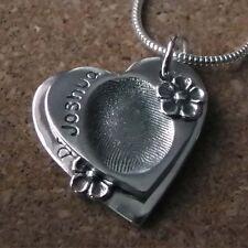 Fingerprint Jewellery - Descending Double Fine Silver Heart & Flower Pendant