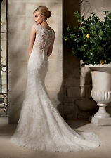 Morilee 2702 Bridal Wedding Dress Crystal Beaded Lace Fitted Sheer Fit Flare Wh