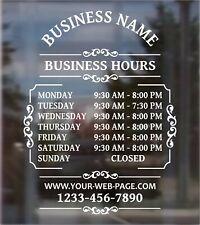 Custom Business Hours Open Hours Front Door Window Vinyl Decal