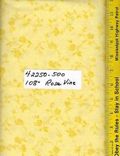 """42250-500, 108"""" EXTRA WIDE QUILT BACKING BTY: TONAL ROSE VINE YELLOW"""