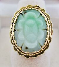 Antique Chinese 14K Gold Ring w/ 18.5mm Carved Green JADEITE Jade (6.8g, size 7)
