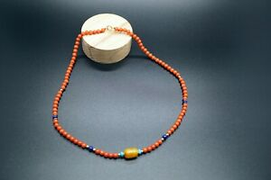 Sardinia Coral Beaded Necklace with Amber Lapis Design Boho Necklace 17.5''