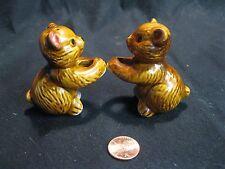 Vintage Brown Hanging Bear Hug Salt and Pepper Shakers Ceramic                31
