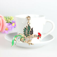 Lovely Rooster Chicken Charm Pendant Rhinestone Crystal Car Key Ring Chain Gift