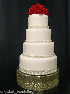 Sequin bling wedding cake stand -  round or square  over 30  sequin cols