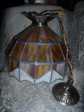 Vintage LG.Amber Stained Slag Glass Hanging Swag Lamp Ceiling Fixture Chandelier