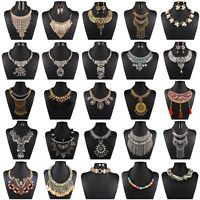 Fashion Jewelry Women Chain Crystal Statement Bib Chunky Collar Pendant Necklace