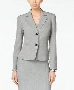 $189 Kasper Women'S Gray Two-Button Notched Collar Long-Sleeve Blazer Jacket 4