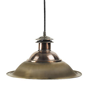 "Charleston Hanging Nautical Dock Lamp Ceiling Fixture Light 13"" Brass & Copper"
