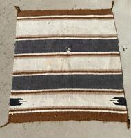 "Antique Navajo Saddle Blanket Hand Woven Native American Wool Rug 32"" X 28"""