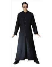 Adult Mens Cybe Man Costume Neo Long Black Trench Coat Robe Glasses Fancy Dress