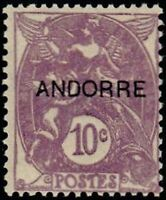 """ANDORRE FRANCAIS STAMP TIMBRE N° 6 """"  BLANC 10 C. VIOLET """" NEUF x TB"""