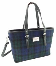 Ladies Authentic Harris Tweed Tote Bag With Shoulder Strap Black Watch Tartan 60