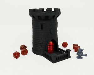 """Lighted 5"""" Dice Tower, Castle, Dice Roller, DnD, Dungeons and Dragons, Red"""