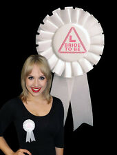 BRIDE TO BE Hen Night Party Rosette Badge Pink & White ROS-100