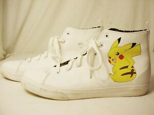 Mens Size 11 Pikachu Pokemon GroundUp High Tops Ground Up White lace up Shoes