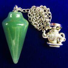 Green Aventurine Pendulum Carved Tibetan Sliver kettle Pendant Bead A83654