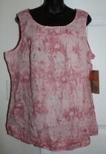 NWT Ruff Hewn 1x Pink Tie Dye Cotton Tank Top Elastic Bottom Hem $59