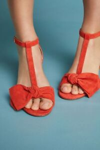 ANTHROPOLOGIE NEW T-Strap Heels Suede Sandals Orange Coral & Black Shoes