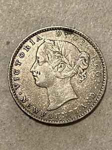 1865 Canada/New Foundland Silver 10 Cents XF Scarce