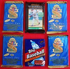 6   1993 Baseball CARD PACKS LOT Topps Pinnacle Upper Deck Jeter ROOKIE ? GIFT ?