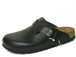 Birkenstock Boston Clogs Hausschuhe schwarz Leder Fußbett 060193 schmale Weite