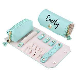 Personalised Beautiful Soft PU Leather Jewellery Roll Gift Colours