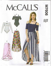 Off the Shoulder Leotard Bodysuit Wrap Skirt McCalls Sewing Pattern XS S M 4-14