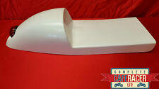 DEEP FASTBACK STYLE CAFE RACER SEAT IN WHITE WITH BUILT IN STOP TAIL LIGHT