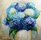 Hydrangeas Blue Summer Bouquet White Vase Original Oil Painting on Canvas Art