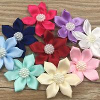 Upick 20pcs Ribbon Flowers Bows W/Rhinestone Appliques Craft Wedding E324
