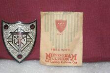 NOS 1920's Monogram Junior Metal Motometer Cap Shield Knights of Columbus Silver