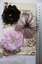 PINK & BLACK Feather & Fabric Flowers 3 Flower Pk 60-80mm - for Facinator ManorH