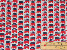 Republican National Party Elephant GOP VOTE Political Fabric by the 1/2 Yd #1851
