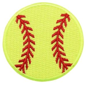 "Softball Applique Patch - Neon Yellow, Sports Badge 2.25"" (Iron on)"