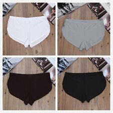 Men Side Split Boxer Briefs Shorts Underwear Soft Ice Silk Trunks Underpants