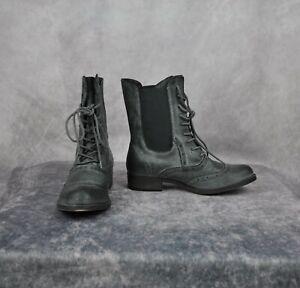 Rocket Dog Women's Conant Lace-up Boot,Black Buffed Leather,US 8.5 M Dark Gray