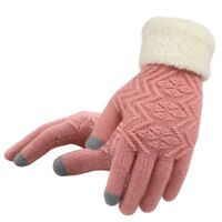 Women Winter Warm Touch Screen Gloves Full Finger Knitted Fleece Lined Gloves