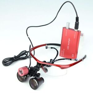 3.5X R Binocular Headlight Dental  Medical Operation Loupe with LED Lamp Light